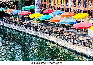 Outdoor dining along the Riverwalk in San Antonio, Texas