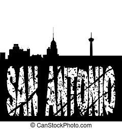 San Antonio skyline grunge text - San Antonio skyline with...