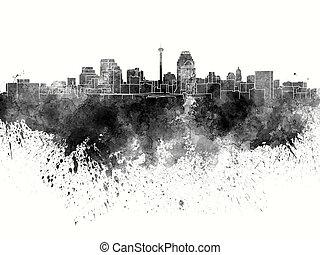 San Antonio skyline in black watercolor on white background