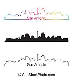 San Antonio skyline linear style with rainbow