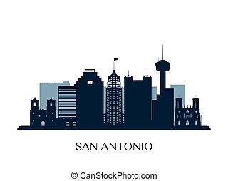 San Antonio skyline, monochrome silhouette. Vector...