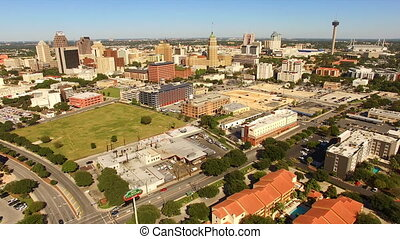 San Antonio Skyline Wide Panoramic South Cantral Texas -...
