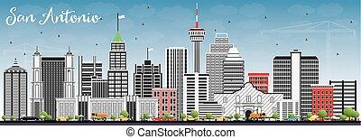San Antonio Skyline with Gray Buildings and Blue Sky.