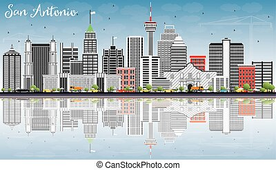 San Antonio Skyline with Gray Buildings, Blue Sky and Reflections.