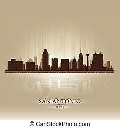 san antonio, tejas, contorno, ciudad, silueta