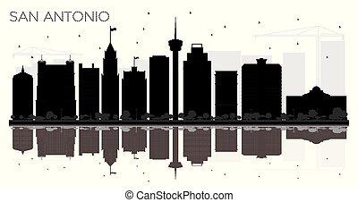 san antonio, tejas, perfil de ciudad, negro y blanco, silueta, con, reflections.
