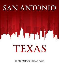 san antonio, tejas, perfil de ciudad, silueta, fondo rojo