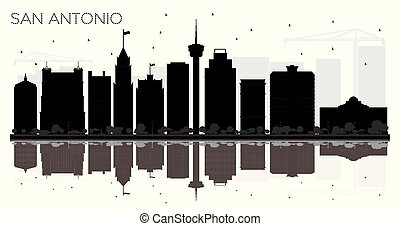 San Antonio Texas City skyline black and white silhouette with Reflections.