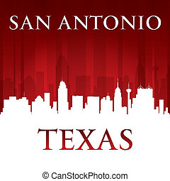 San Antonio Texas city skyline silhouette red background -...