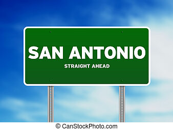 San Antonio, Texas Highway Sign - Green San Antonio, Texas,...