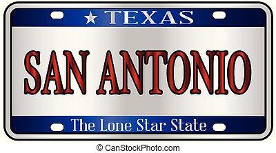 San Antonio Texas License Plate - San Antonio Texas state...