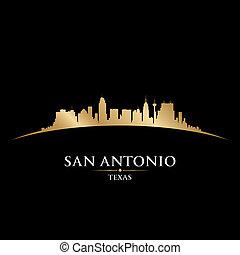 san antonio, texas, miasto skyline, sylwetka, czarne tło