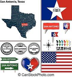 San Antonio, Texas - Vector set of San Antonio,Texas in USA...