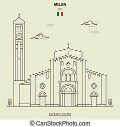 San Babila in Milan, Italy. Landmark icon in linear style