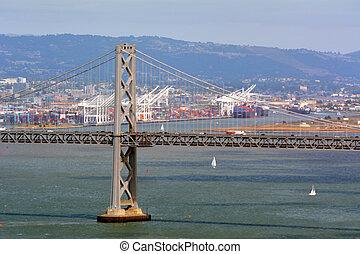 san, bahía, puente de oakland, puerto, francisco, california