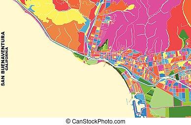 San Buenaventura, California, USA, colorful vector map