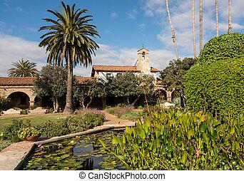 san, capistrano, huan, misja, fontanna ogród