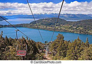 Cable car ride down the mountain in Baroiloche, Argentina
