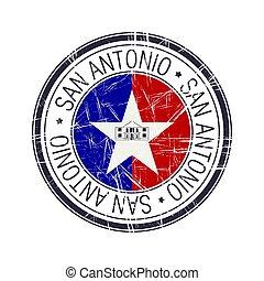 san, città, antonio, francobollo, texas, vettore
