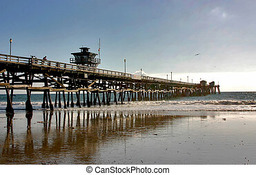 San Clemente Pier at Low Tide - San Clemente Pier and...
