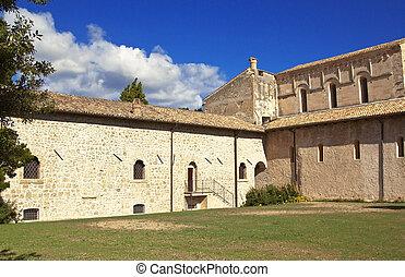 San Clemente quater - San Clemente abbey courtyard, Abruzzo...