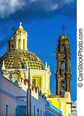 San Cristobal Church Templo de San Cristobal Historic Puebla Mexico.  Built in 1600 to 1700s