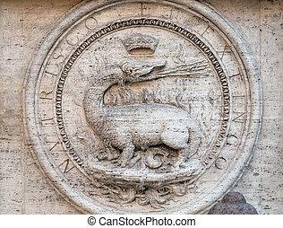 san, -, dei, heráldico, c/, roma, iglesia, di, fachada,...