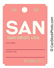 San Diego airport luggage tag - San Diego realistically...