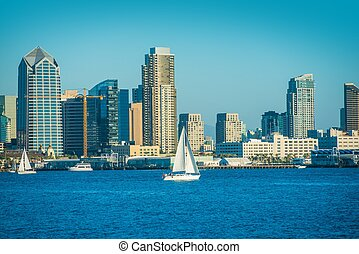 San Diego Bay and the City Skyline. San Diego, California, ...