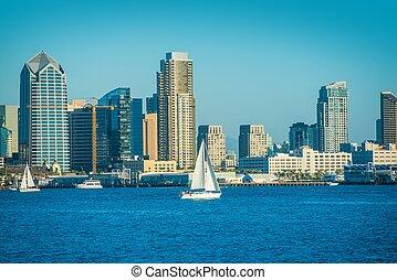San Diego Bay and the City Skyline. San Diego, California,...