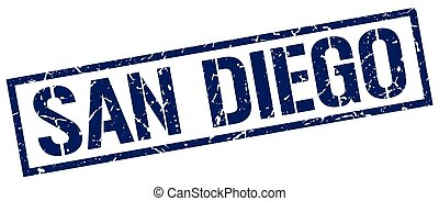San Diego blue square stamp