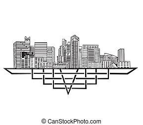 San Diego, CA Skyline. Black and white vector illustration...