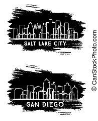 San Diego California and Salt Lake City Utah USA City Skyline Silhouette Set.