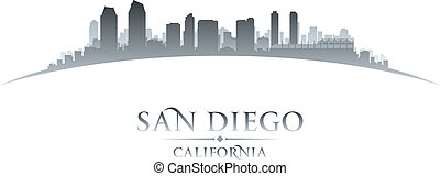 San Diego California city skyline silhouette white background