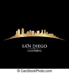 san diego, california, perfil de ciudad, silueta, fondo negro