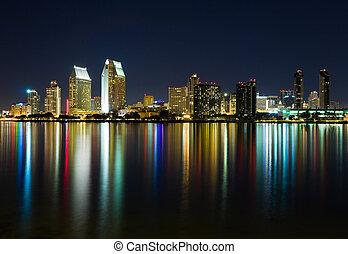 San Diego California - San Diego skyline at night