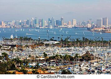San Diego, California - San Diego skyline on a foggy day