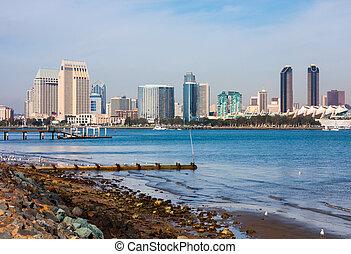 San Diego California - Skyscrapers next to San Diego Bay