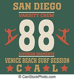 San Diego California typography fashionsurf, t-shirt...