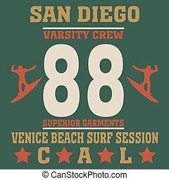 San Diego California typography fashionsurf, t-shirt...
