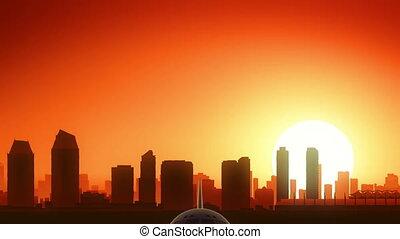 San Diego California USA America Skyline Sunrise Take Off