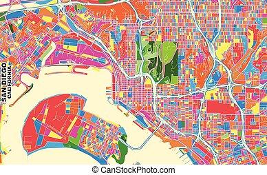 San Diego, California, U.S.A., colorful vector map