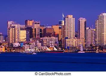 San Diego California USA. Colorful Waterfront Cityscape...