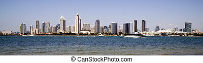 San Diego California Waterfront from Coronado Boats Traveling Bay
