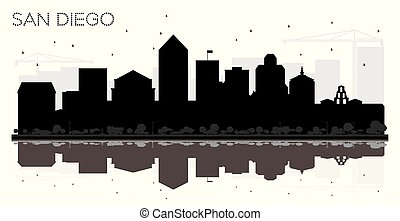 San Diego City skyline black and white silhouette with Reflections.