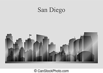 San Diego city skyline silhouette in grayscale