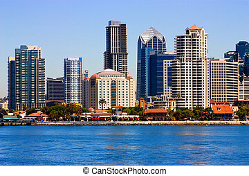 San Diego close-up view of from bay,California.