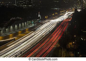 San Diego 405 Freeway near Sunset Blvd in West Los Angeles, California.