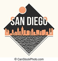 San Diego graphic, t-shirt design, tee print, typography,...
