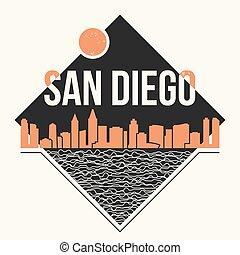 San Diego graphic, t-shirt design, tee print, typography, ...